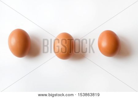 Three Fresh Organic Brown Eggs isolated on a White Background all lined up in a row