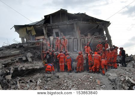 ERCIS, TURKEY-OCTOBER 26, 2011 : Earthquake damage in Ercis, Van, Turkey. October 26, 2011.