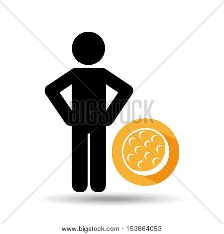 man hands on waist with golf ball icon vector illustration eps 10