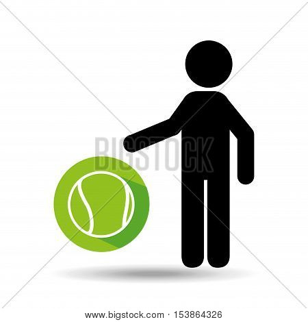 silhouette man point tennis ball vector illustration eps 10