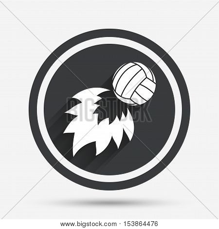 Volleyball fireball sign icon. Beach sport symbol. Circle flat button with shadow and border. Vector