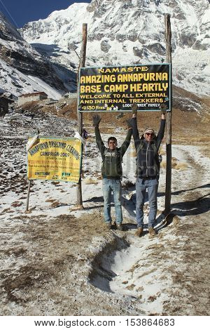 People Enjoy The Entrance To  Mount Annapurna  Base Camp