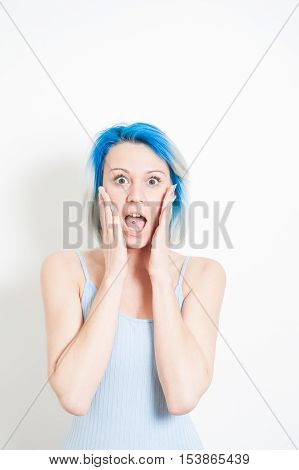 Stunned Young Alternative Teenager Woman On White Portrait