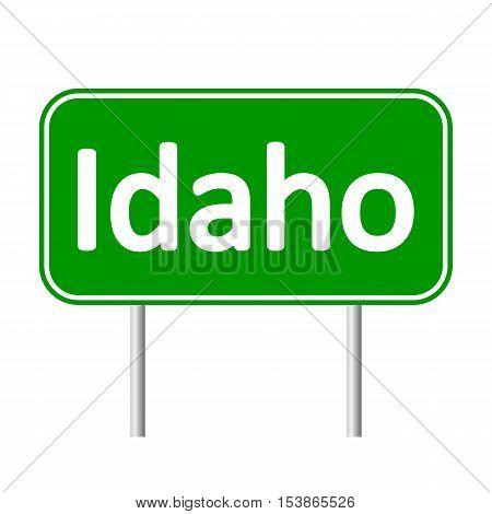 Idaho green road sign isolated on white background.