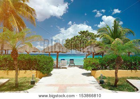 Cabana In Tropical Beach