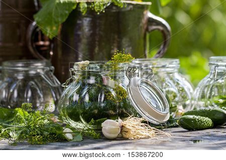 Fresh pickling cucumbers in the countryside on old wooden table