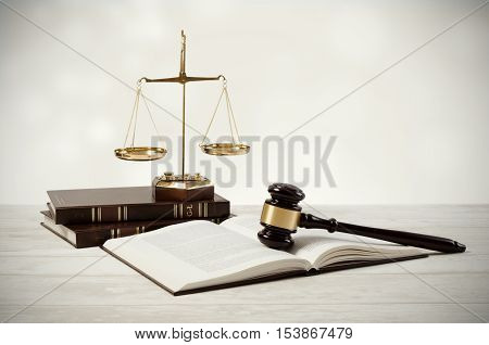 Justice Concept On Wooden Background