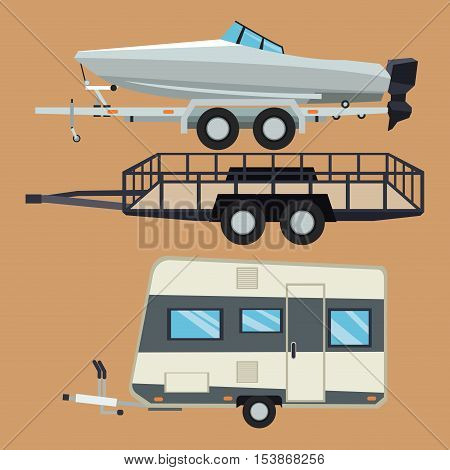 Trailer house and boat icon. Vehicle transportation travel and trip theme. Colorful design. Vector illustration