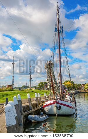 ship in the harbor of Enkhuizen Netherlands