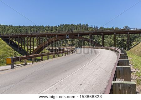 Wooden interchange bridges in the Black Hills.