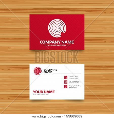 Business card template. Wood sign icon. Tree growth rings. Tree trunk cross-section with nick. Phone, globe and pointer icons. Visiting card design. Vector poster