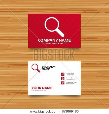 Business card template. Magnifier glass sign icon. Zoom tool button. Navigation search symbol. Phone, globe and pointer icons. Visiting card design. Vector