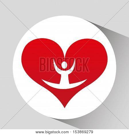 athlete silhouette flexible heart beat vector illustration