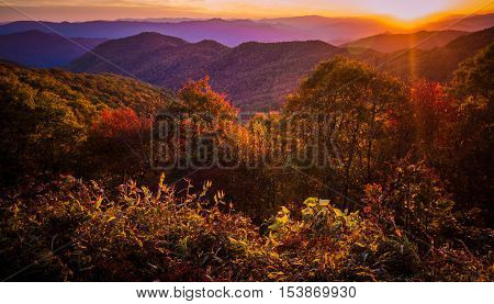 Great Smoky Mountain Sunset. Sunset from a Blue Ridge Parkway overlook with the Great Smoky Mountains at the horizon.
