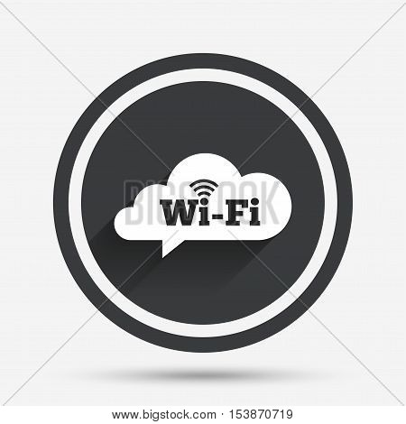 Free wifi sign. Wifi symbol. Wireless Network icon. Wifi zone. Circle flat button with shadow and border. Vector