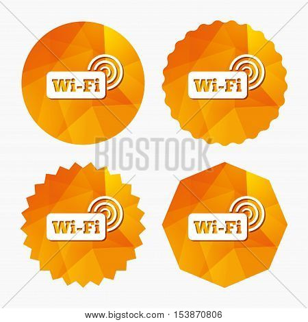 Free wifi sign. Wifi symbol. Wireless Network icon. Wifi zone. Triangular low poly buttons with flat icon. Vector
