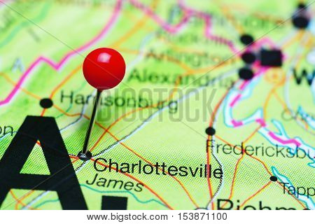 Charlottesville pinned on a map of Virginia, USA