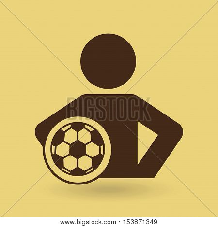 man hands on waist with soccer ball icon vector illustration eps 10