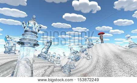 Surreal desert with chess figures man with red umbrella and nearly identical clouds.  3D render