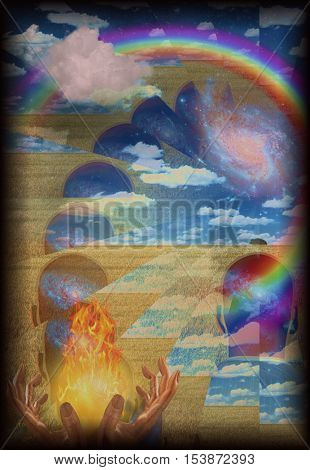 Spiritual composition with fire in hands and human head with galaxy contained rainbow and cloud  Some elements provided courtesy of NASA  3D render
