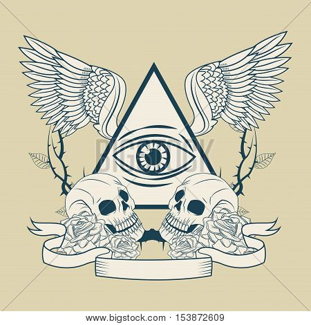 Eye of providence with wings icon. Tattoo art urban style and culture theme. Vector illustration