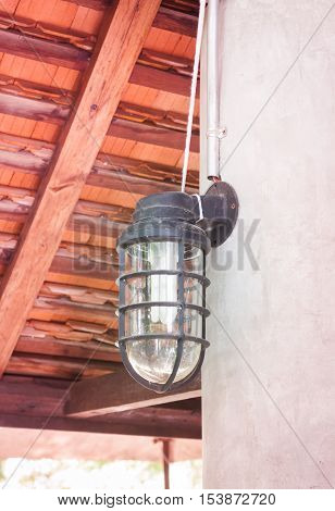 Lamp decorated in coffee shop, stock photo