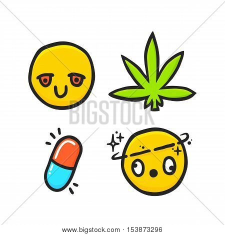 Cartoon weed and drugs emotions emoji isolated vector pack