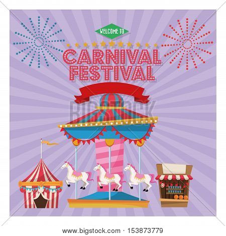 striped tent and carousel icon. Carnival festival fair circus and celebration theme. Colorful design. Vector illustration