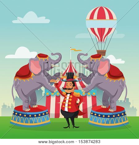 striped tent hot air balloon man and elephant icon. Carnival festival fair circus and celebration theme. Colorful design. Vector illustration