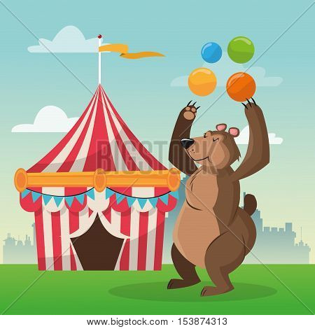striped tent and bear icon. Carnival festival fair circus and celebration theme. Colorful design. Vector illustration