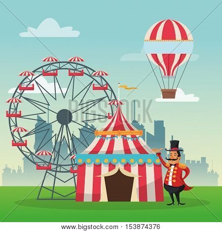 striped tent ferris wheel man and hot air balloon icon. Carnival festival fair circus and celebration theme. Colorful design. Vector illustration