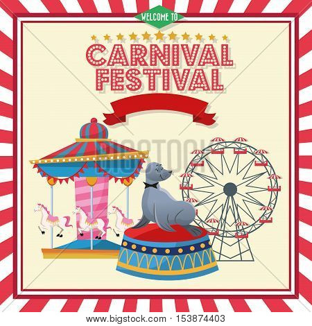 Ferris wheel carousel and seal icon. Carnival festival fair circus and celebration theme. Colorful design. Vector illustration