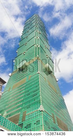 TAIPEI TAIWAN - OCTOBER 24: Taipei 101 Skyscraper October 24 2016 in Taipei TAIWAN.