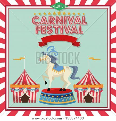 striped tent and horse icon. Carnival festival fair circus and celebration theme. Colorful design. Vector illustration