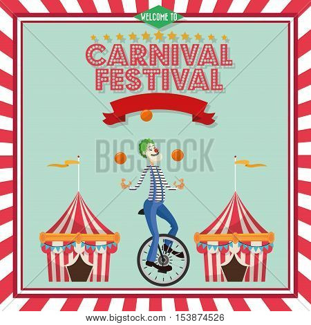 striped tent and clown icon. Carnival festival fair circus and celebration theme. Colorful design. Vector illustration