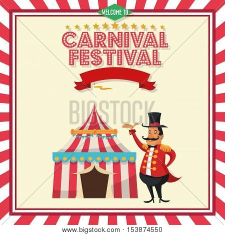 striped tent and circus man icon. Carnival festival fair and celebration theme. Colorful design. Vector illustration