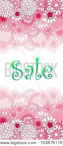Sale concept background. Word SALE made of pink flowers. Bright sale banner in vector