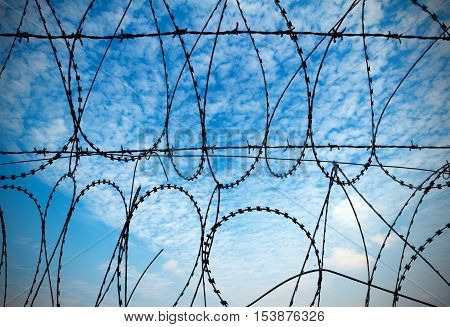 Blue sky and white clouds in the background of barbed wire.