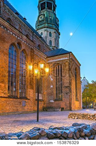 St.Peter's Cathedral in Riga, Latvia. The St Peter's Church is the highest church in Riga and also a remarkable example of the 13th century Gothic architecture