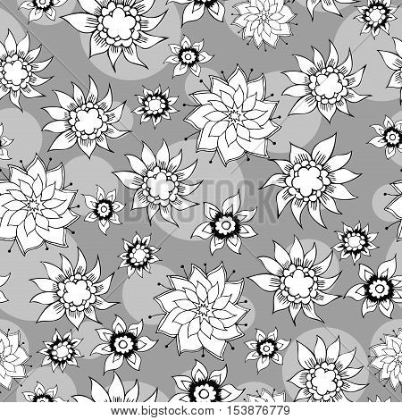 Floral vintage hand-drawn seamless pattern. Vector illustration Eps8.