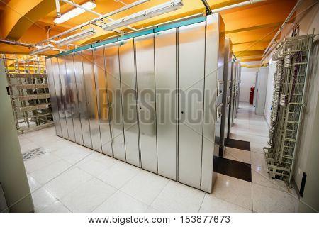 Empty server room with server rack