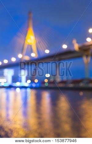 Blurred lights Rama9 suspension bridge, Bangkok Thailand