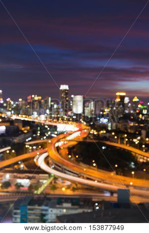 Blurred light highway interchanged with beauty after sunset sky background