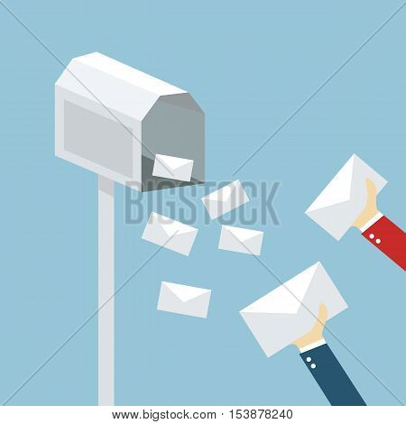 Dropping a letter into a post box vector, icon illustration flat design.