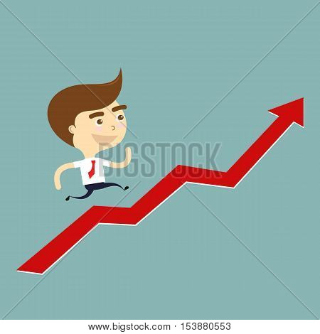 businessman smile running grow up graph vector