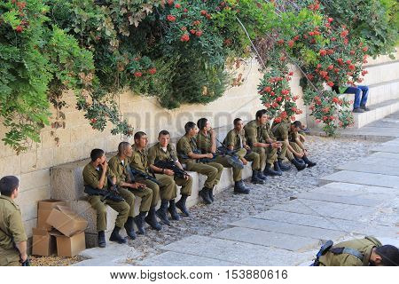 Jerusalem, Israel, October 24, 2013, Israeli troops waiting to be sworn in inside Old Jerusalem near the Wailing Wall.