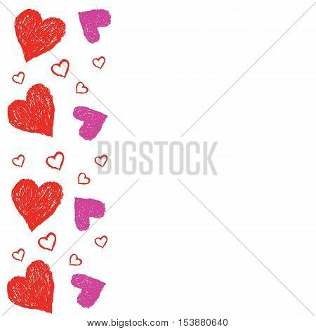 red and pink heart grunge isolate vector for card Valentine's Day
