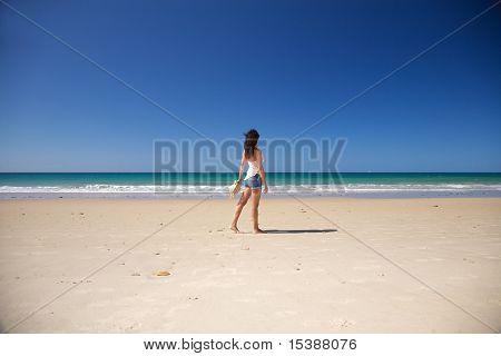Side Woman Walking At Zahara Beach