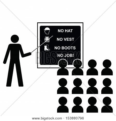 Representation of construction health and safety seminar with icons to current British Standards on blackboard isolated on white background with copy space