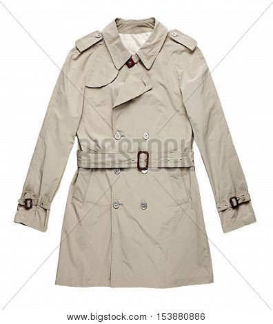 Isolated image of single off white raincoat with belt against a white background